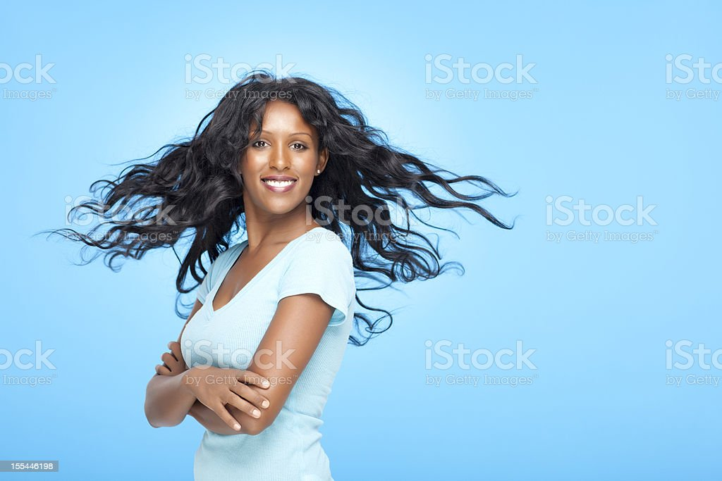 Happy woman with magnificent hair. royalty-free stock photo