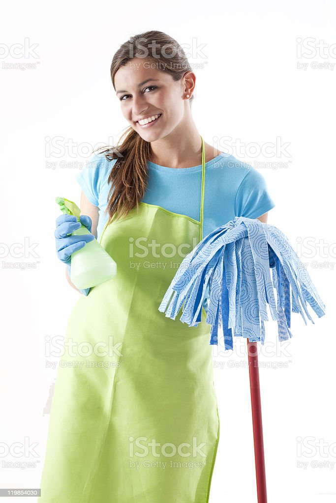 Happy Woman With Mop and Spray Bottle royalty-free stock photo