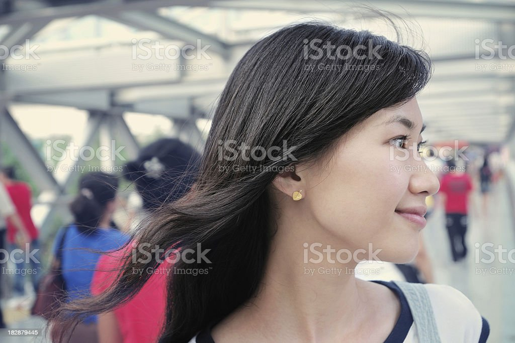 Happy Woman with Shopping Center Background - XLarge royalty-free stock photo