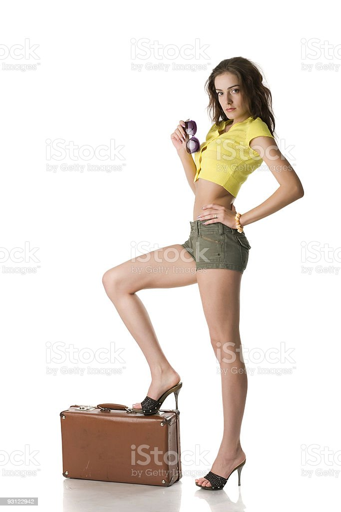 happy woman with suitcase royalty-free stock photo