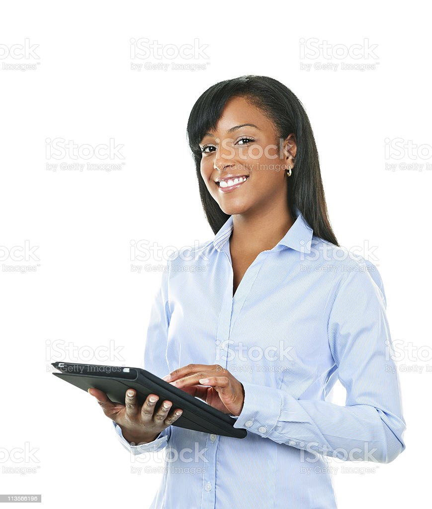 Happy woman with tablet computer royalty-free stock photo