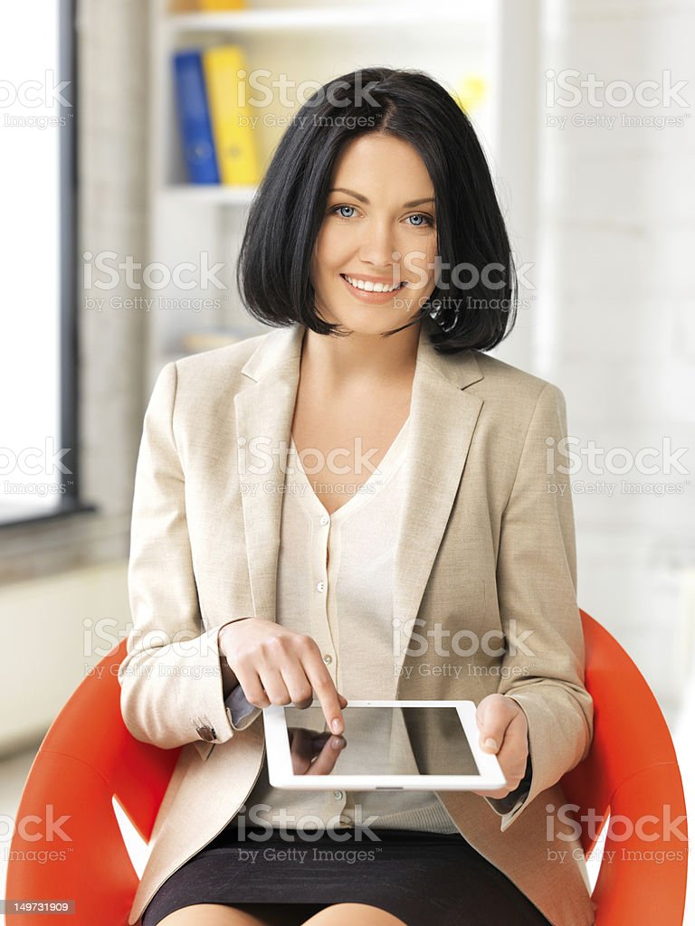 happy woman with tablet pc computer royalty-free stock photo