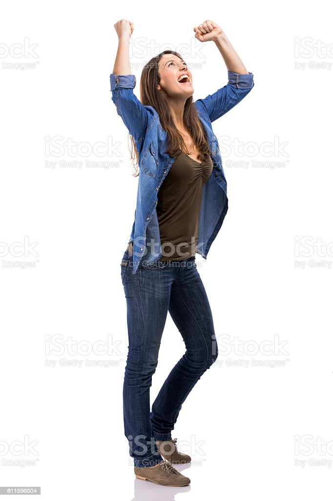 Happy woman with the achieved success, isolated over white background stock photo