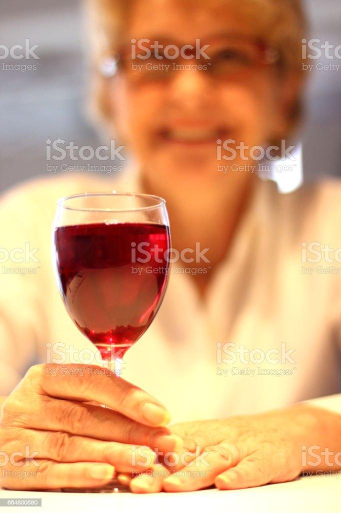 Happy Woman With Wine stock photo
