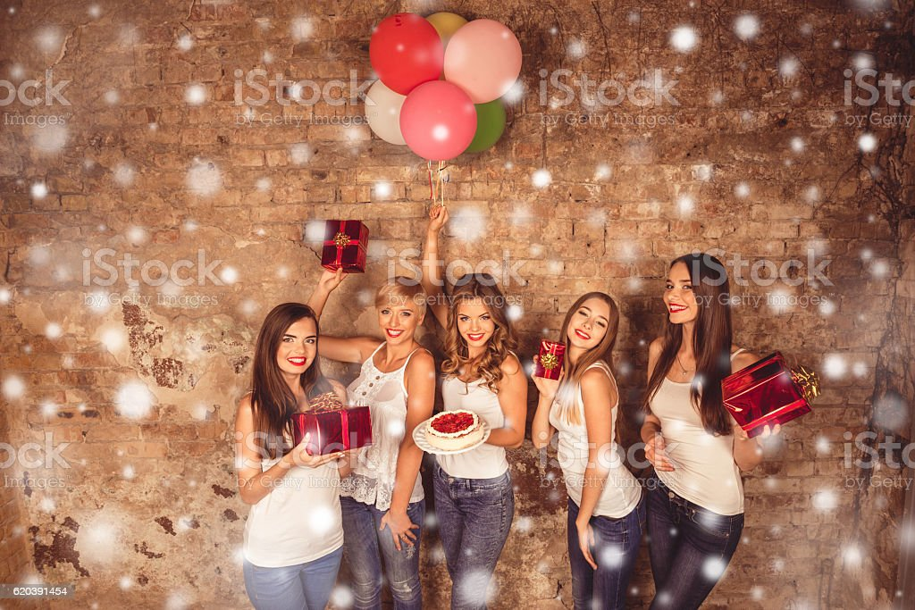 Happy women having party and  celebrating new year stock photo