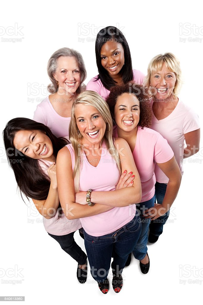 Happy women in pink supporting each other stock photo