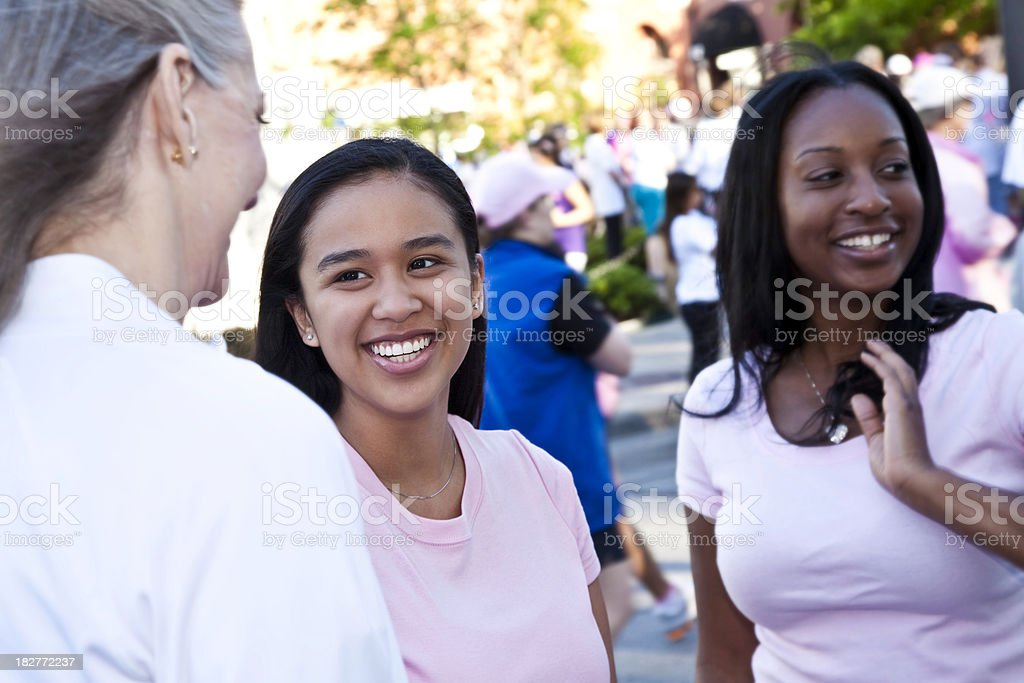 Happy Women in Pink Waiting for Race Start at Rally royalty-free stock photo