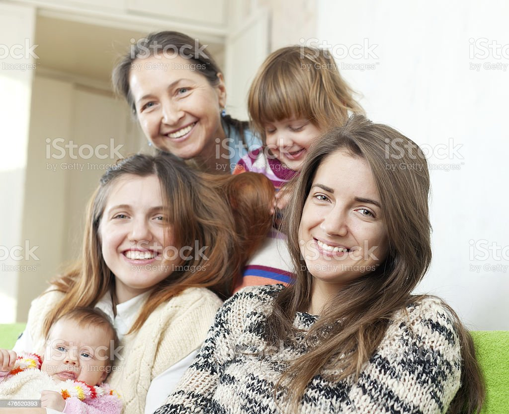 Happy women of three generations royalty-free stock photo