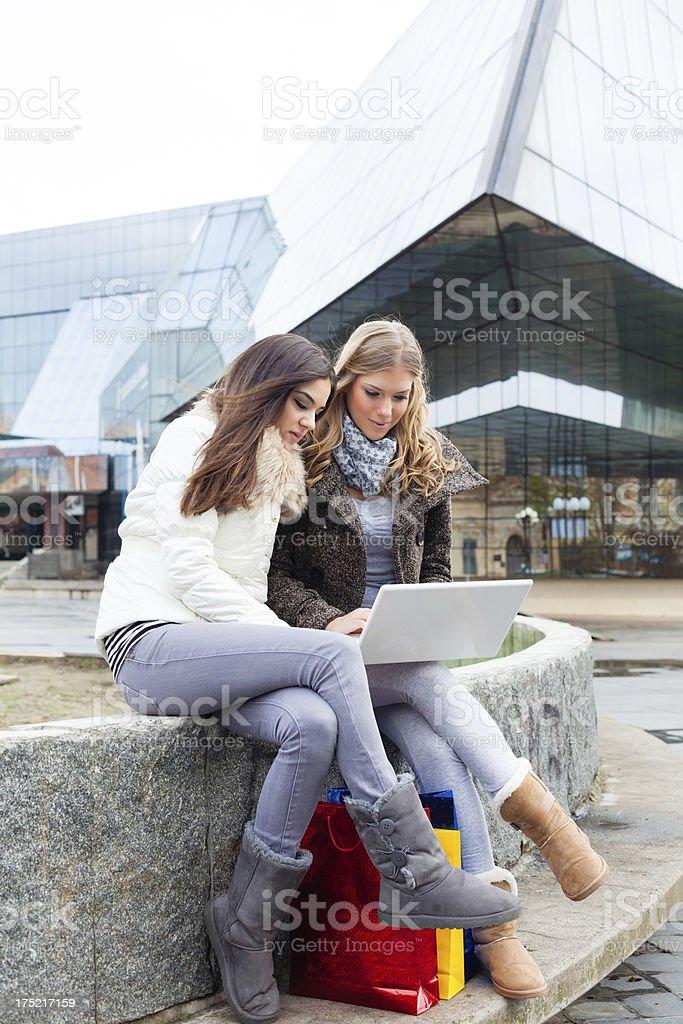 Happy women on digital tablet royalty-free stock photo