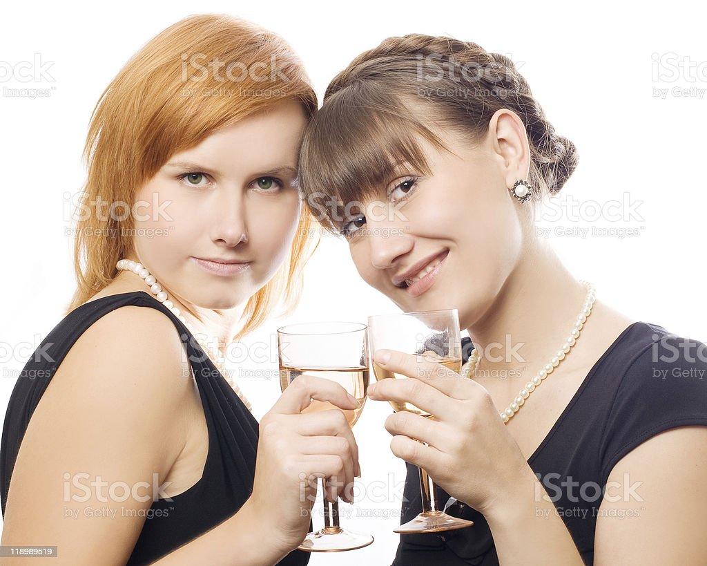 Feliz de las mujeres en la fiesta foto de stock libre de derechos