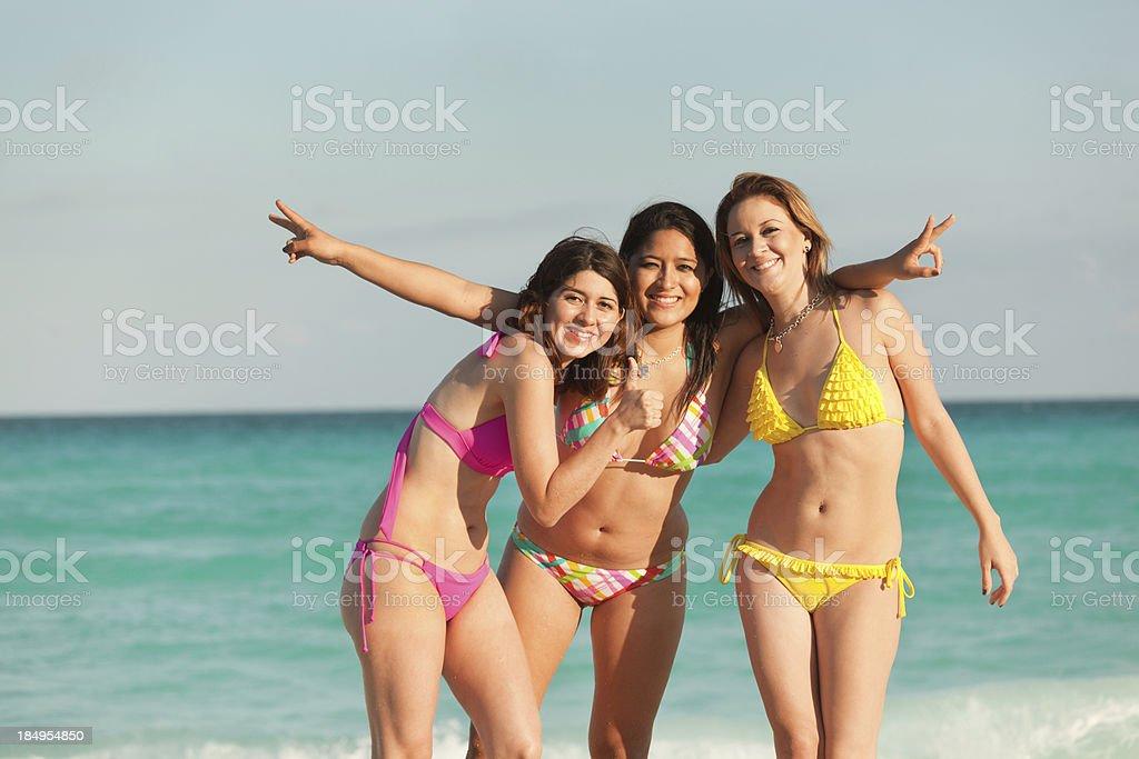 Happy Women on Vacation in Caribbean Beach Hz royalty-free stock photo