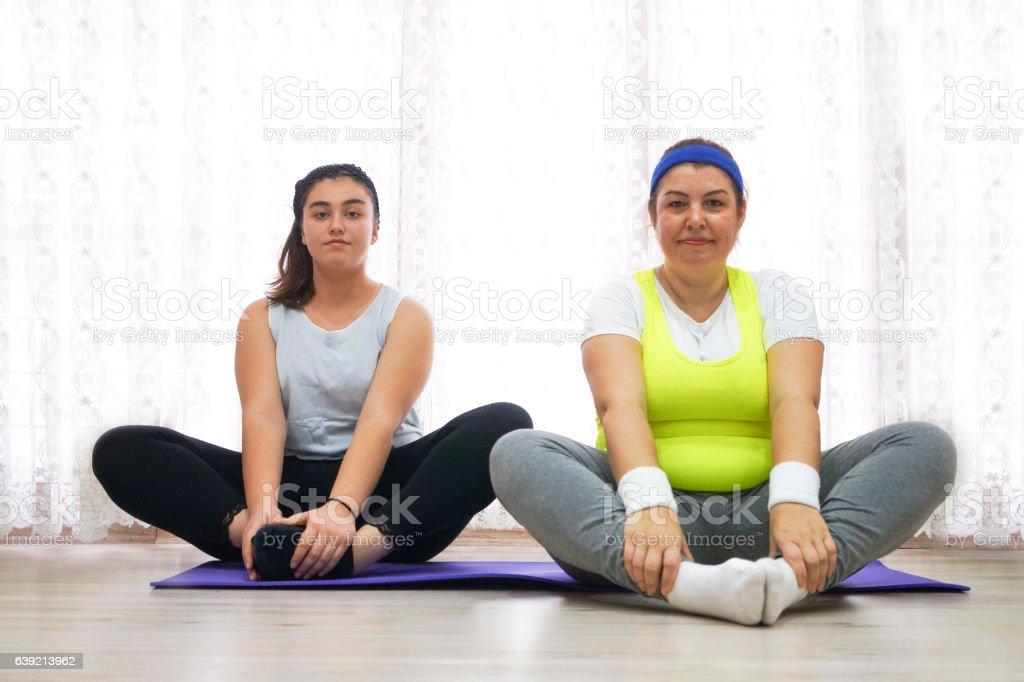 Happy Women ready to doing exercise stock photo