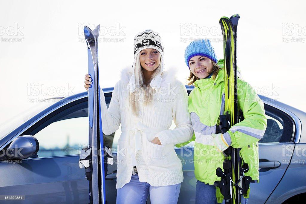 Happy women resting on ski resort royalty-free stock photo