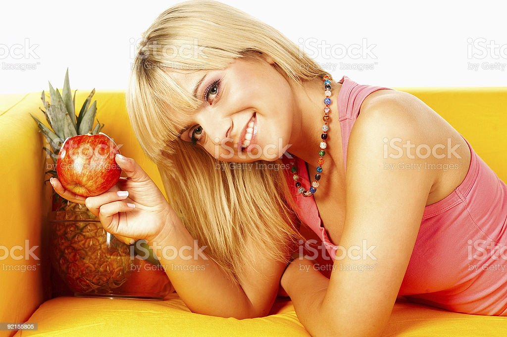Happy women with fruits royalty-free stock photo