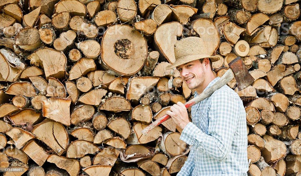 Happy Woodcutter stock photo