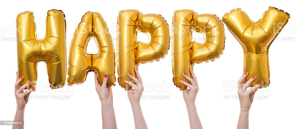 Happy word made from gold balloons stock photo