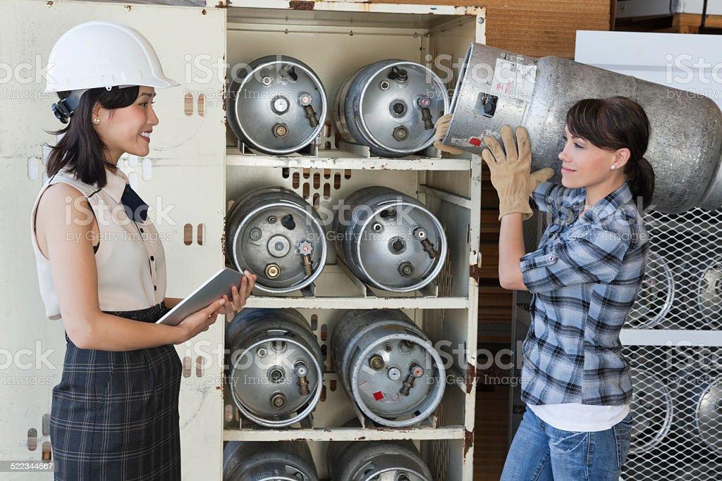 Happy worker stock photo