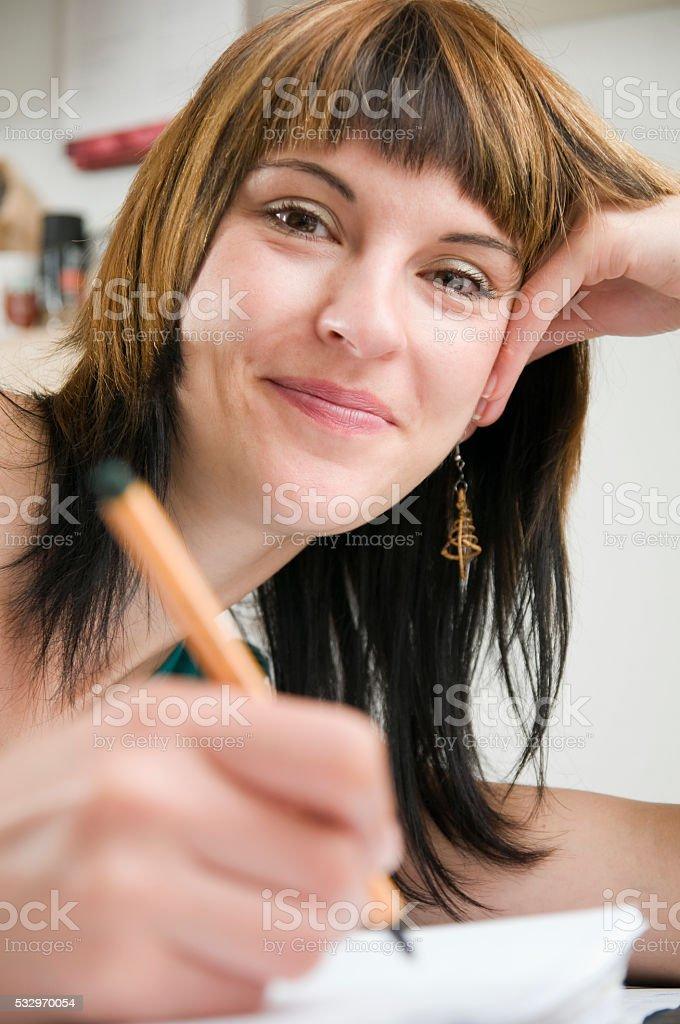 happy writing stock photo