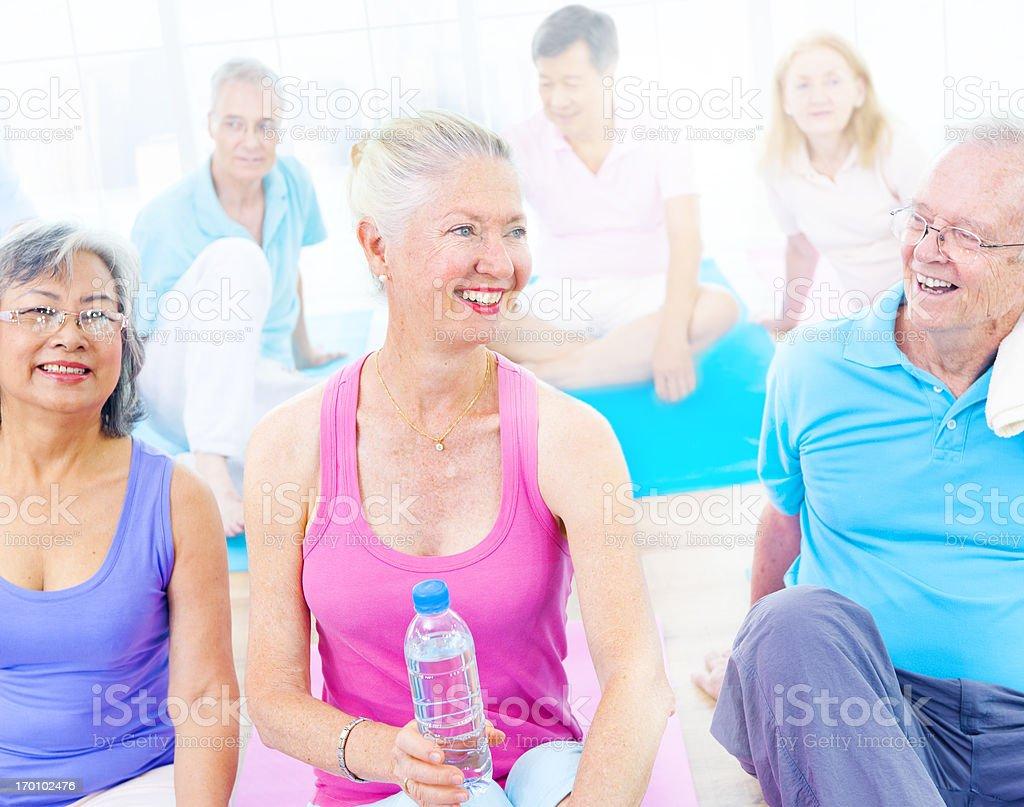 Happy Yoga Class. royalty-free stock photo