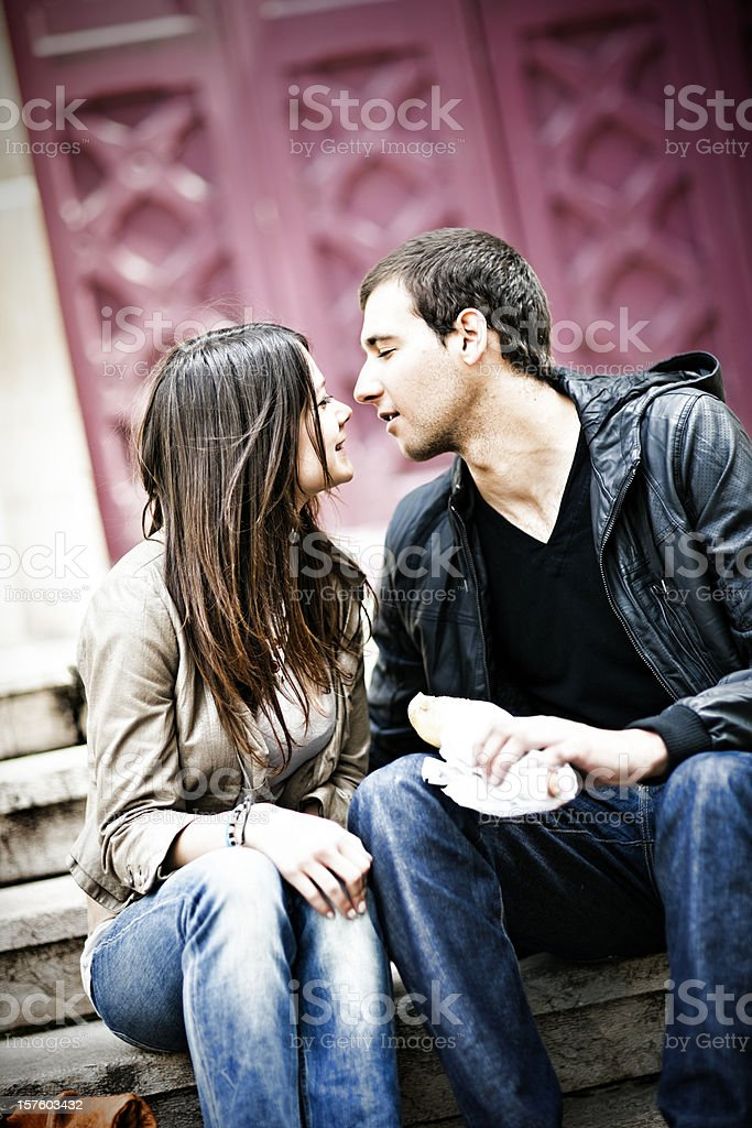 Happy young adult couple in love royalty-free stock photo