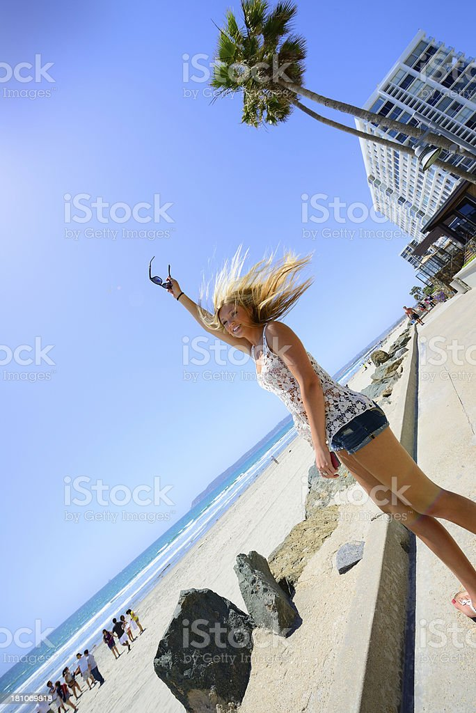Happy young adult woman and sunglasses royalty-free stock photo