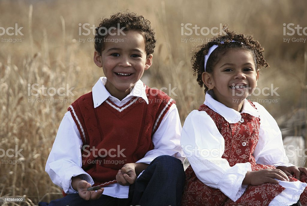 Happy Young African American Children royalty-free stock photo