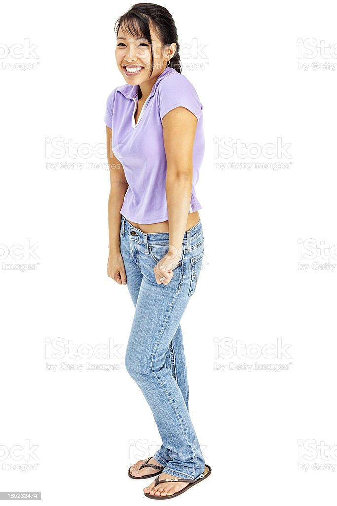 Happy Young Asian Woman In Collared Tshirt And Jeans stock photo 185232474 | iStock