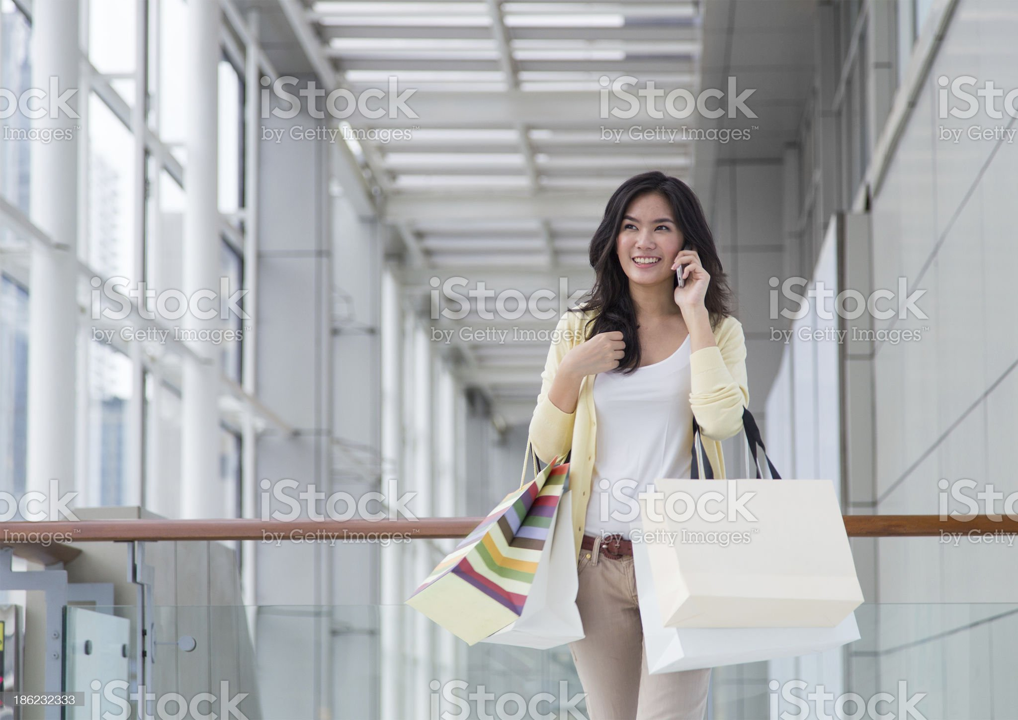Happy young Asian woman shopping. royalty-free stock photo
