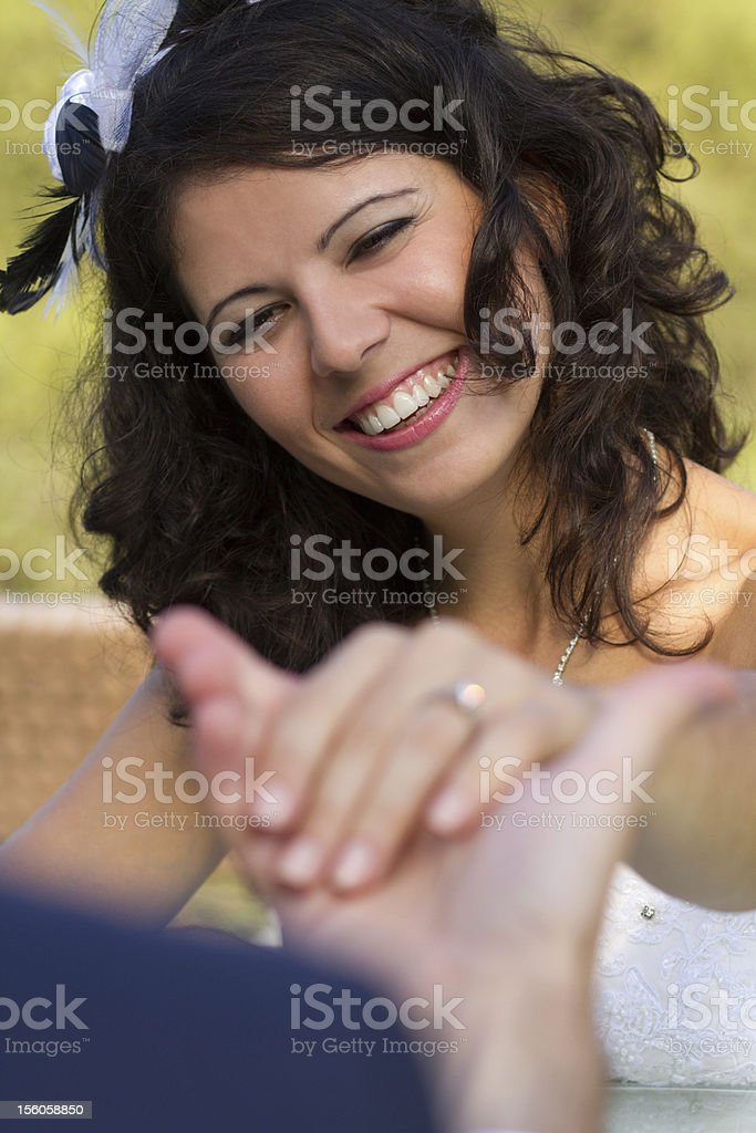 Happy young bride smiling royalty-free stock photo