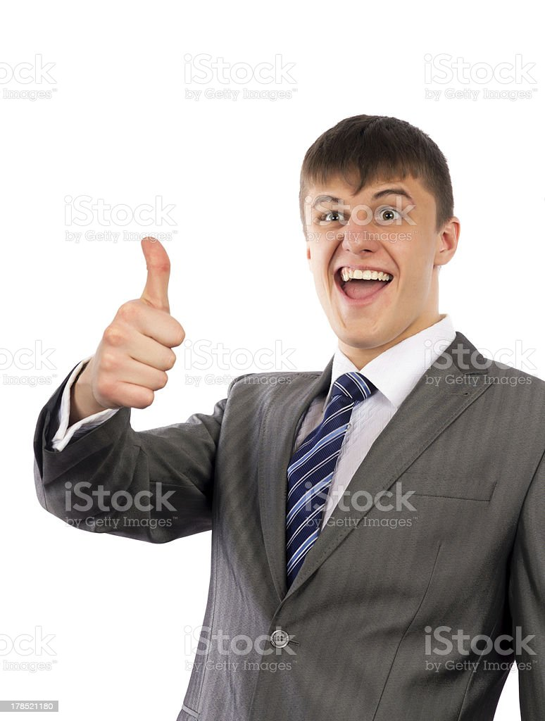 happy young business man showing thumbs up royalty-free stock photo