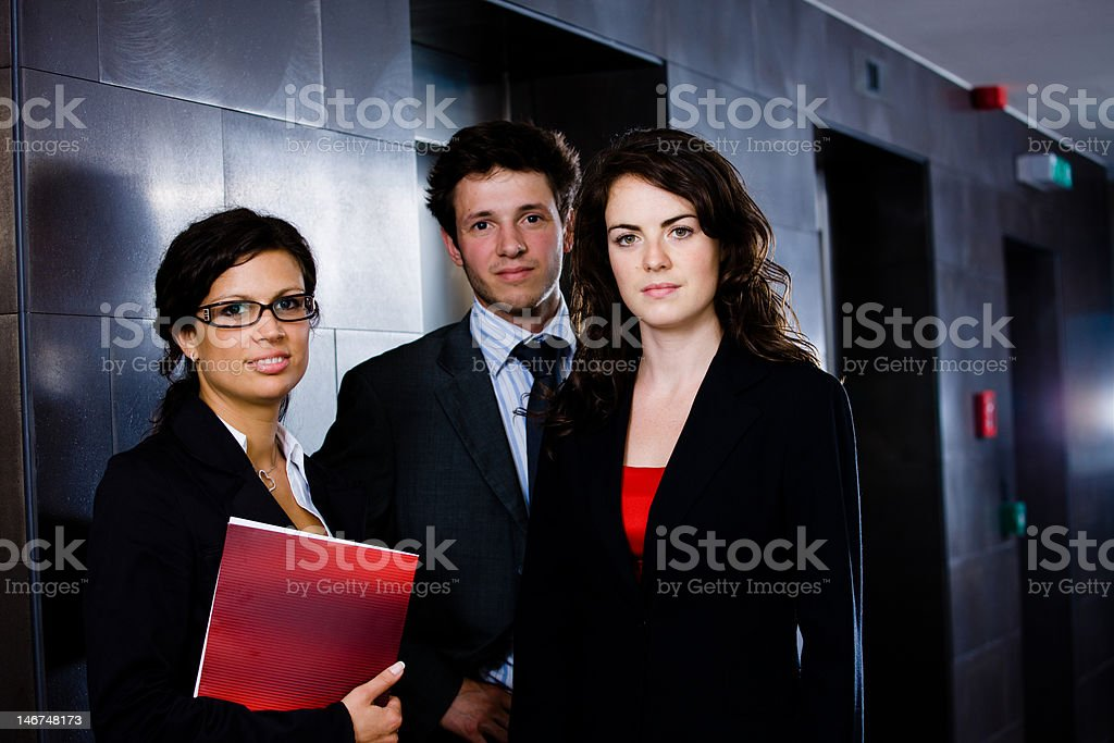 Happy young business team stock photo