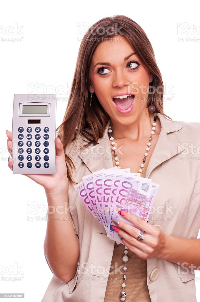 Happy young business woman stock photo