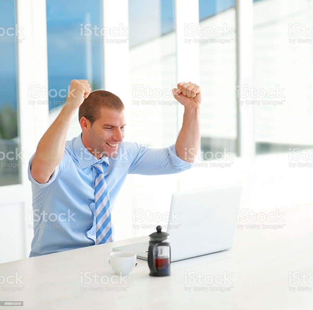 Happy young businessman looking at laptop royalty-free stock photo