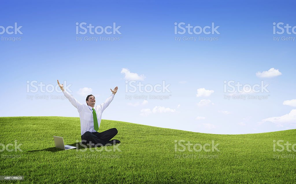 Happy young Businessman successful stock photo