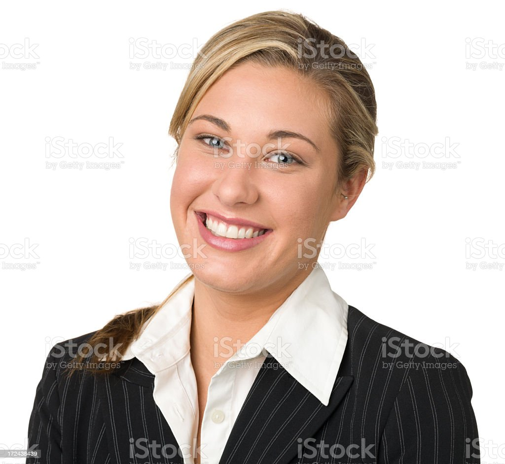 Happy Young Businesswoman Head And Shoulders Portrait royalty-free stock photo