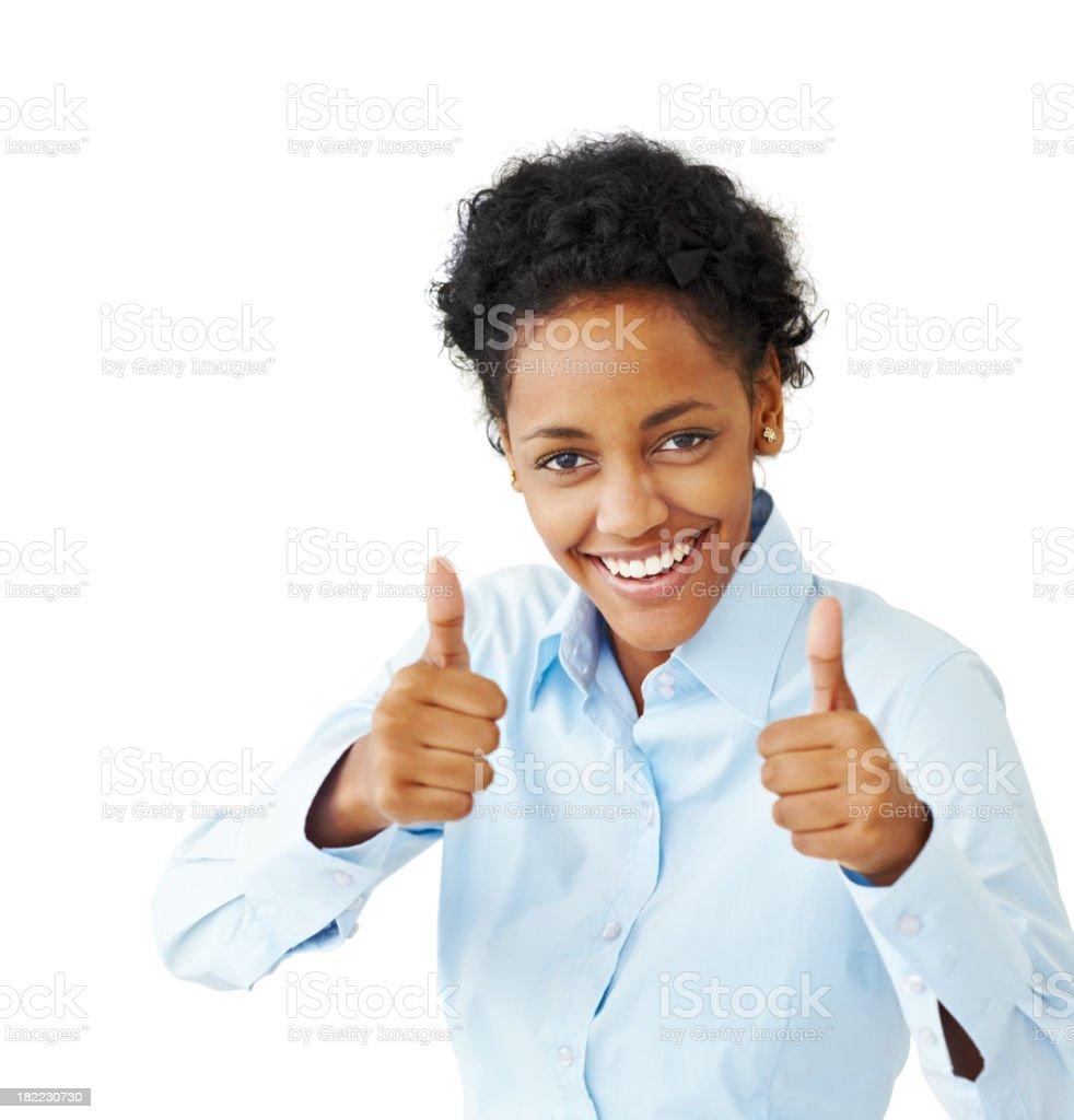 Happy young businesswoman showing thumbs up sign royalty-free stock photo