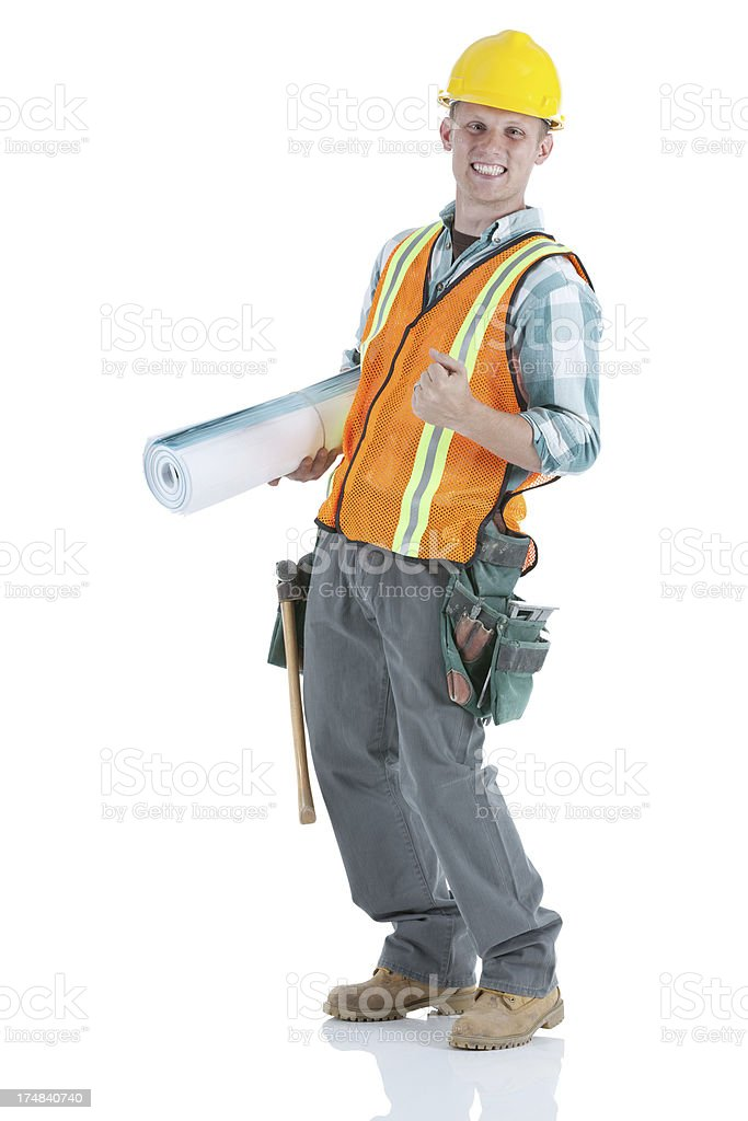 Happy young carpenter royalty-free stock photo