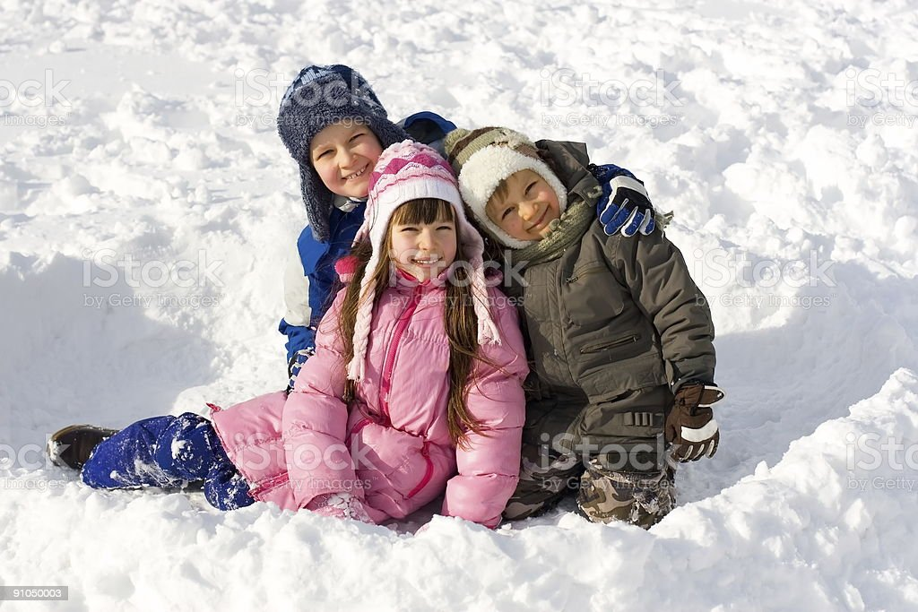 Happy Young Children On Snow royalty-free stock photo