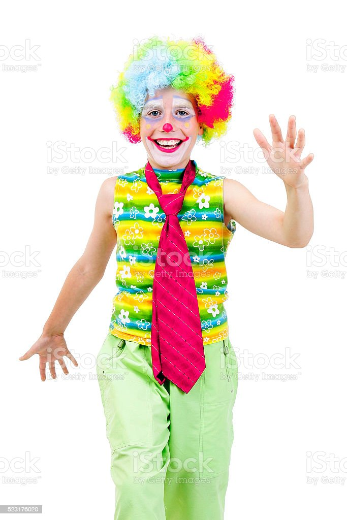 Happy young clown stock photo
