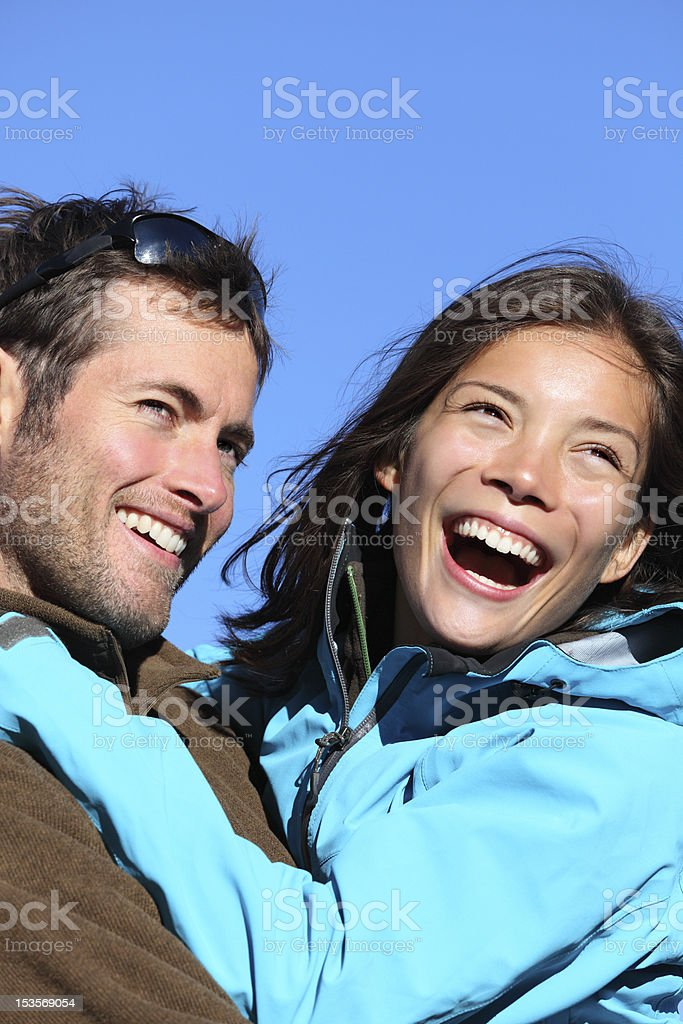 Happy young couple active outdoors royalty-free stock photo