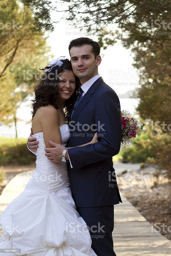 Happy young couple after wedding royalty-free stock photo