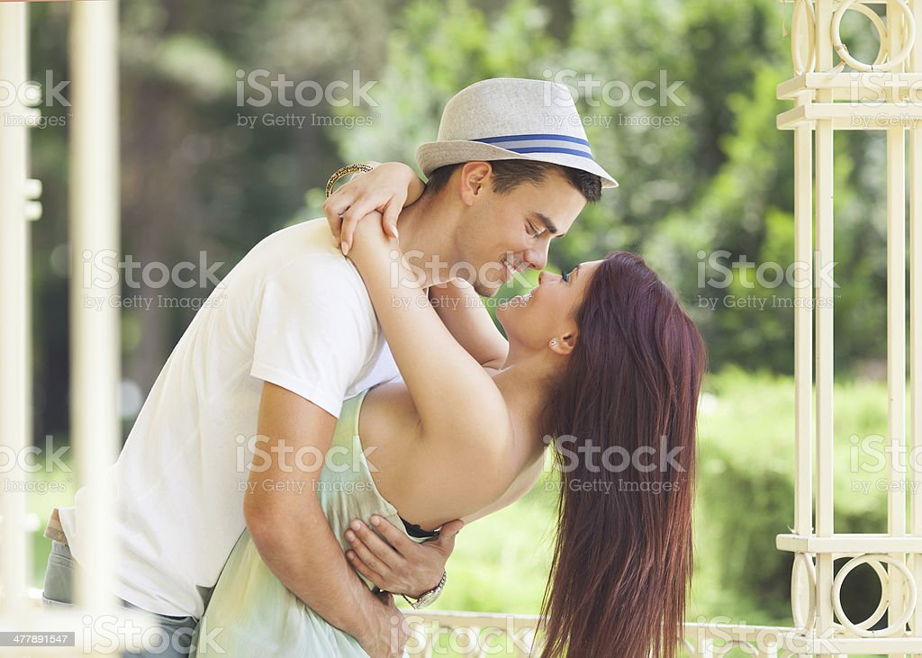 Happy young couple dancing royalty-free stock photo