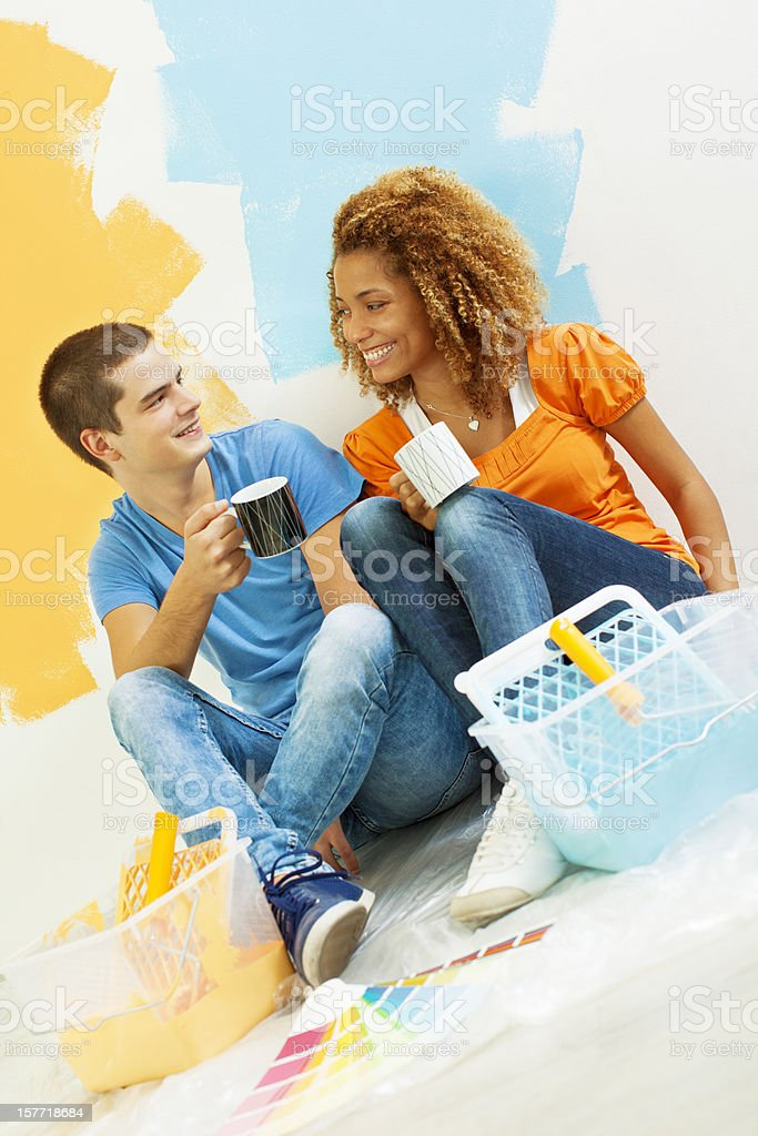 Happy Young Couple Decorating New Home. royalty-free stock photo