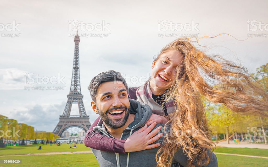 Happy Young Couple enjoying Paris stock photo