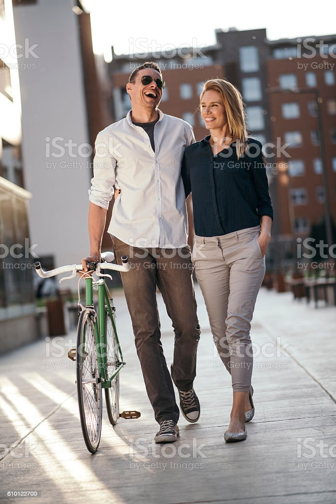 Happy young couple enjoying the afternoon stock photo