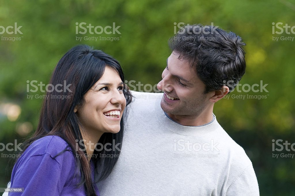 Happy young couple have fun together stock photo