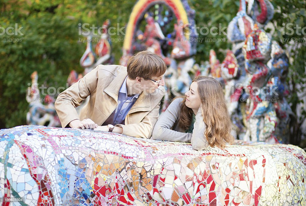 Happy young couple having a date outdoors royalty-free stock photo