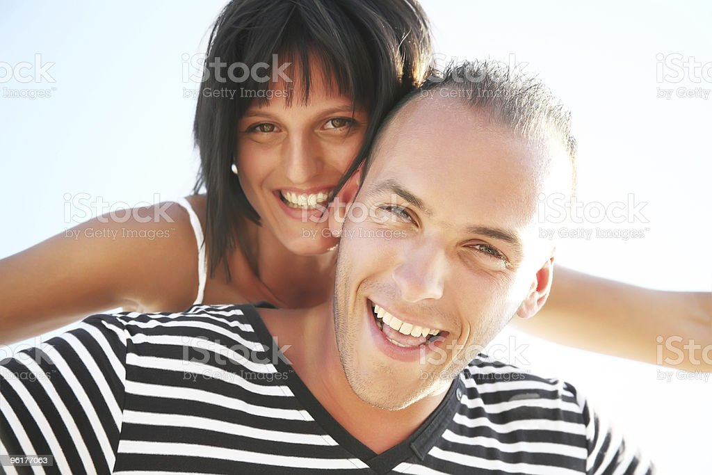 Happy young couple having fun royalty-free stock photo