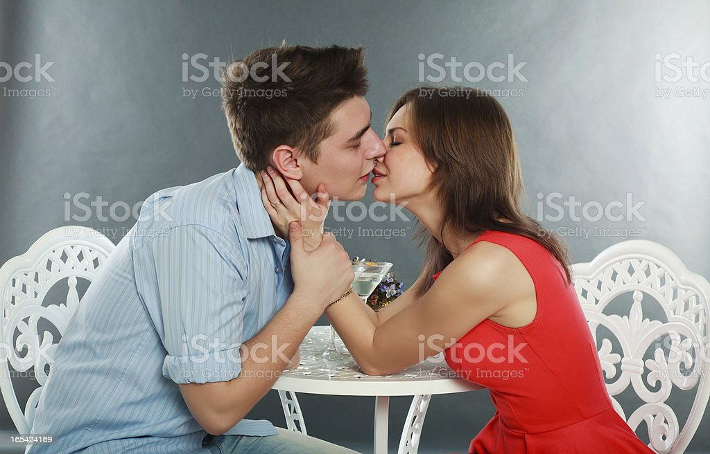 Happy young couple having romantic dinner royalty-free stock photo