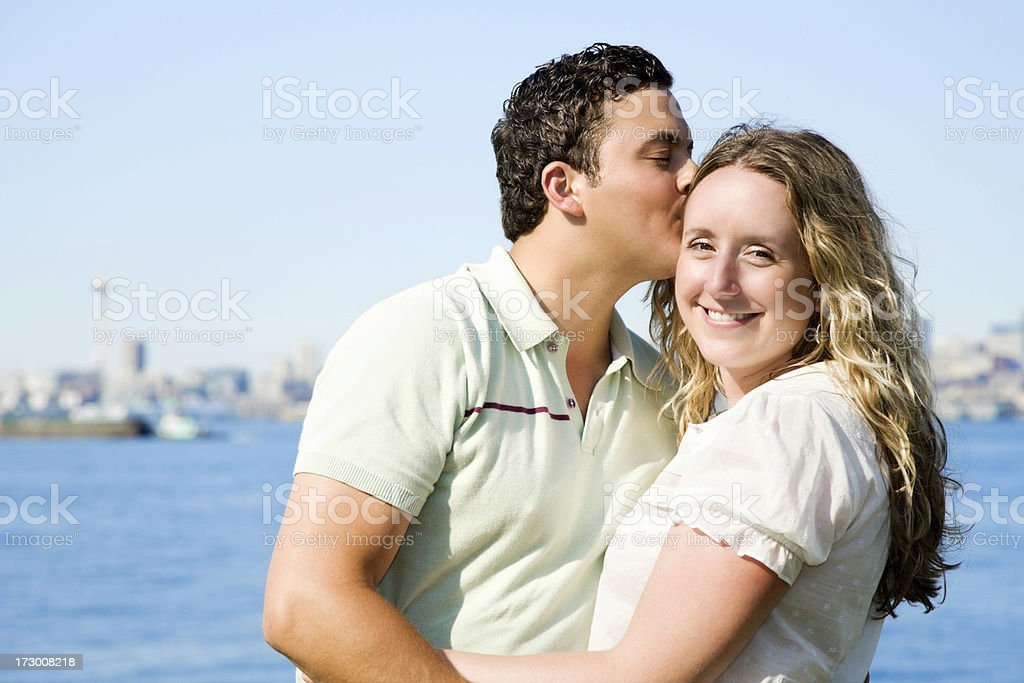 Happy Young Couple in Seattle royalty-free stock photo